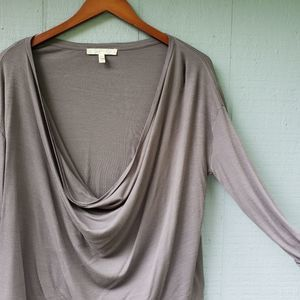 Soft Joie Grey Ribbed Cowl Neck Top XS 3/4 Sleeve